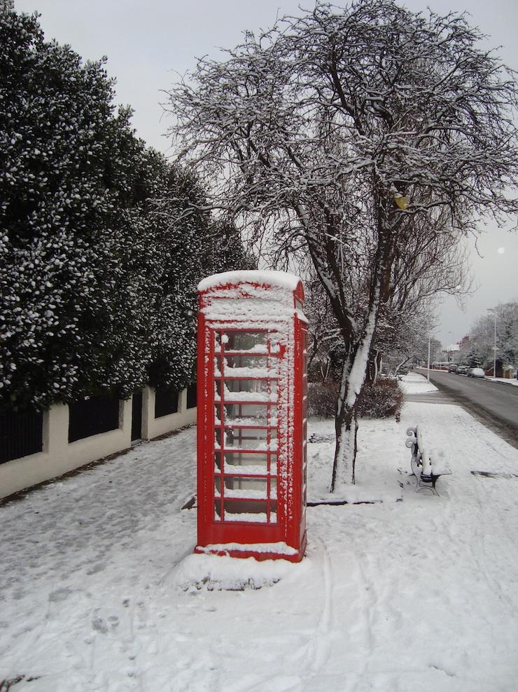 snowy phone box