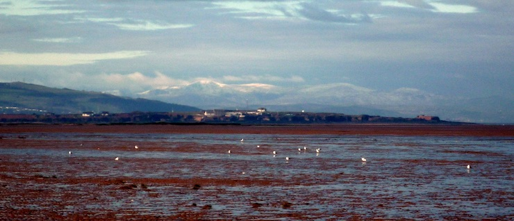 welsh mountains behind hilbre