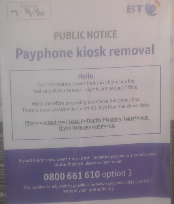kiosk removal notice