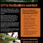U11s footballers wanted