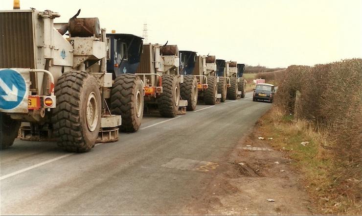 seismic truck convoy
