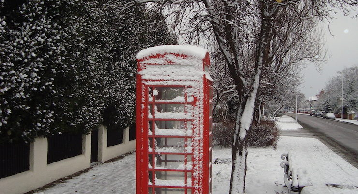 snowy phone box